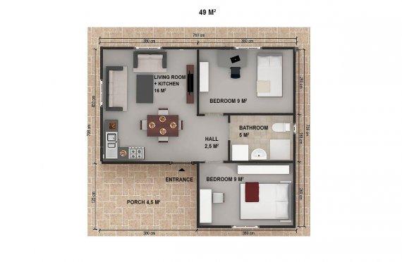 Celoroční dřevěné domky 25 m2