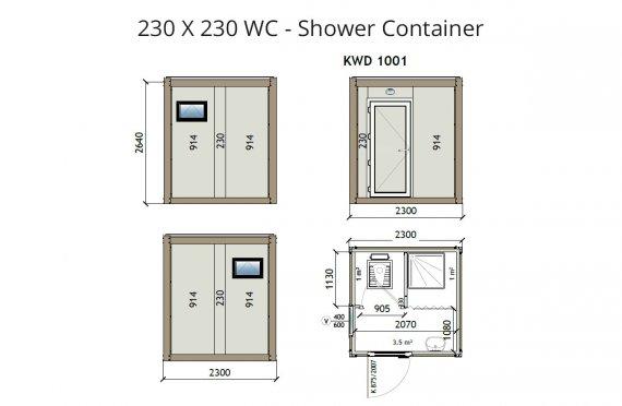 KW2 230X230 Wc - Sprchový kontejner