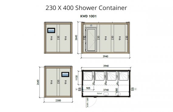 KW4 230X400 Sprchový kontejner