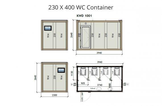 KW4 230X400 WC Kontejner