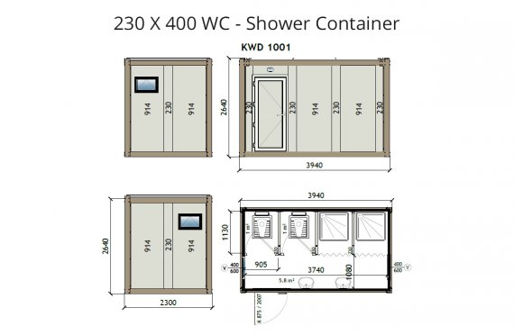 KW4 230X400 WC - Sprchový kontejner