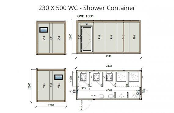 KW6 230X500 WC - Sprchový kontejner