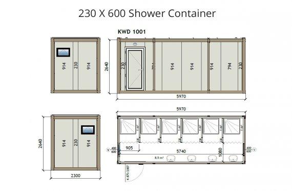 KW6 230X600 Sprchový kontejner