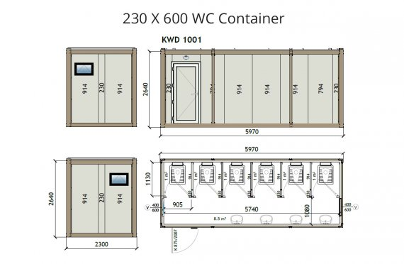KW6 230X600 Wc Kontejner