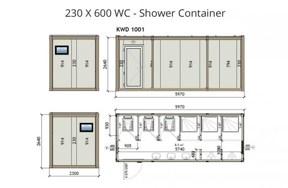 KW6 230X600 Wc - Sprchový kontejner