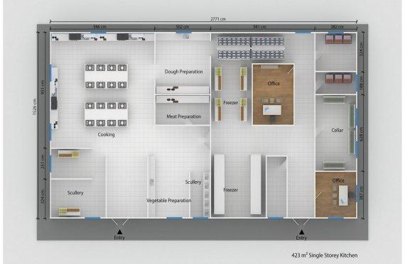 Modulární kuchyně 423 m²