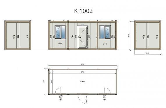 Flat Pack kancelářské Kontejner K1002