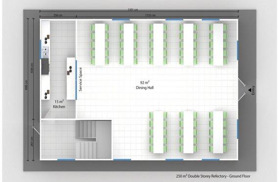 Prefabrikovaná jídelna 250 m²