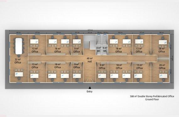 Prefabrikovaná kancelář 588 m²