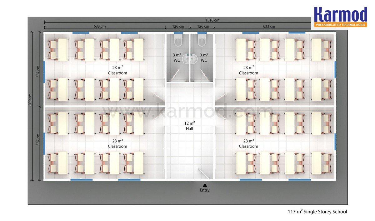 Mobilni učebna 117 m²