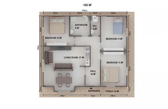 Prefabrikovaný dům - 105 m²